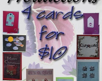 SALE Four Cards for Ten Dollars SALE