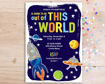 Space Theme Editable Invitation Template | Outer Space Boy Birthday  | Rocket | Stars and Planets