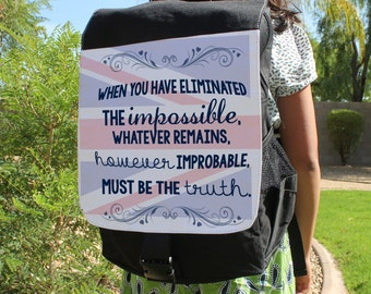 """SHERLOCK  """"Eliminated The Impossible"""" Canvas Backpack Bag"""
