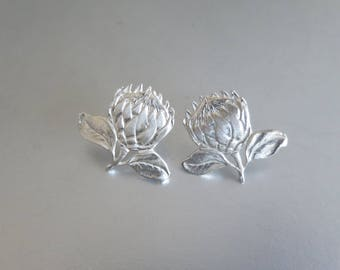 Sterling silver Protea earrings dangle and studs