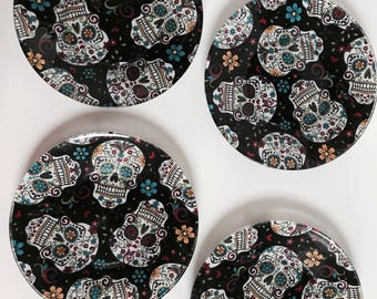 Set of 4 Sugar Skulls Party set, Halloween Plates, Day of the Dead Plates