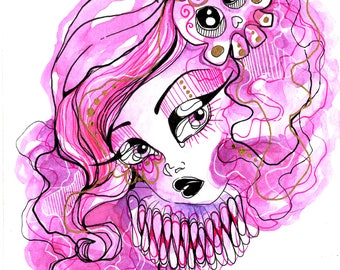Purple and Pink Hair Day of The Dead Sugar Skull Girl Ink and Watercolor Illustration