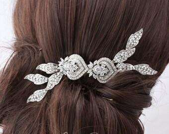 Wedding Comb Crystal Leaf Comb Rhinestone Bridal Hair Comb Vintage style Hair Clip Wedding Hair Accessories EVIE