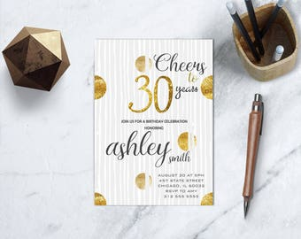 30th Birthday Printable Invitation, Cheers to 30 Years Party, Black and Gold Adult Birthday Invitation, 30th Milestone Birthday Party Invite
