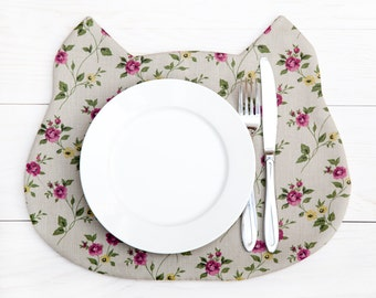 Placemat Gray Cat Fabric Placemat floral pattern Kitchen Decor Baby Shower Favors Table Mats Childrens Placemat Mom Gift