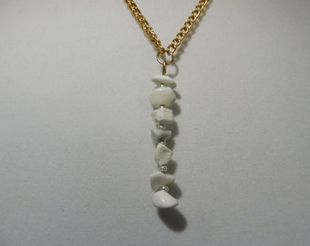 White Howlite Vertical Drip Necklace | White Howlite Necklace | Gemstone Necklace