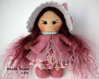 Pink hair cloth doll, Mini dolls, Needle Felted doll, Ornament dolls, Rag dolls, Pocket dolls, Small dolls, Waldorf Toy, Cute Felt, Art doll