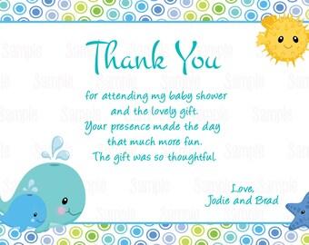 Printable Under the sea thank you card