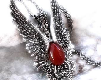Angel Wings Necklace Gothic Jewelry Long pendant necklace Red stone Silver pendant Mens and Womens gothic jewelry