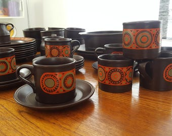 8 Kiln Craft (Kilncraft) Hermes Tea Cups and Saucers - Staffordshire Potteries England - Ironstone - English Ceramics - 1970s Dinnerware