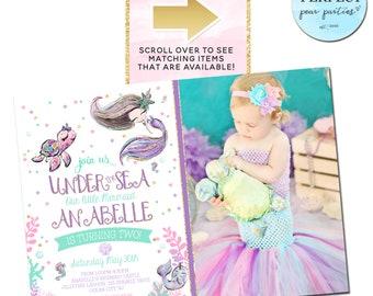 Glitter Mermaid Photo Birthday Invitation Mermaid Birthday Mermaid Invitation Under the Sea Birthday