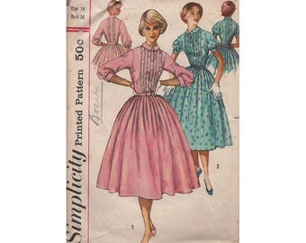 Vintage Sewing Pattern Ladies Bouffant Dress Size 14 Bust 34 1950s Simplicity 2126 Tucked Front Bodice Lace Trim Full Gathered Skirt