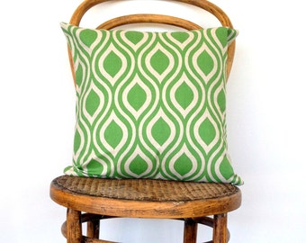 Grass Green and Natural Retro Print Teardrop Cushion Cover