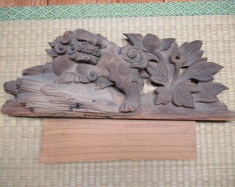 ANTiQUE WOoDEN BuDDHiST TeMPLE DETAiL - very oLD SHiSHI WooDCARViNG - LiON DoG - FREE SHiPPING!!!