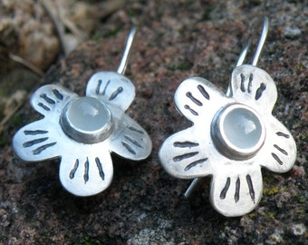 Aquamarine Earrings, Aquamarine Jewelry March Birthstone, Sterling Silver Earrings, Flower Earrings Gift For Her - MADE TO ORDER