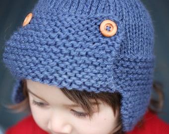 Knitting Pattern, Aviator Hat Pattern, Instant Download PDF Pattern, Aviator Hat Pattern, Earflap Hat Pattern, Child to Adult sizes  - CORY