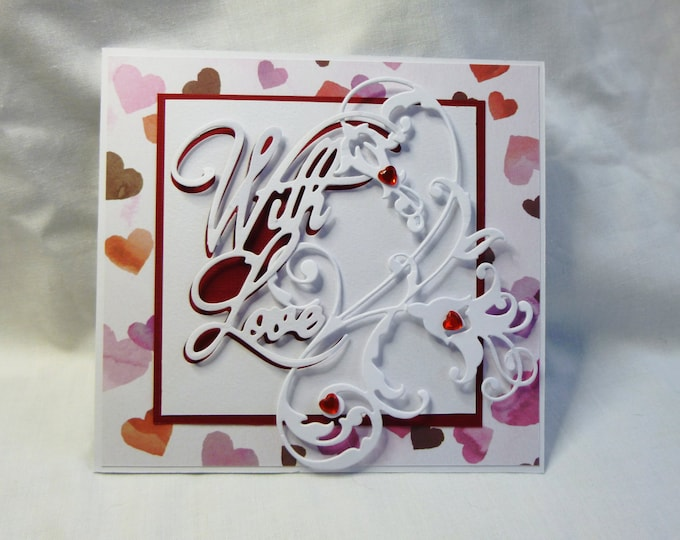 Anniversary Card, Greeting Card, With Love, Hearts, Red And White, 3D Decoupage card. Any Age,