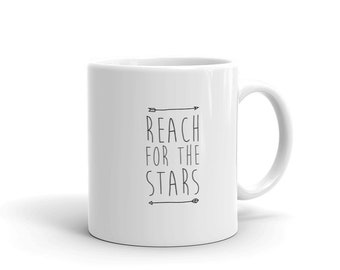 reach for the stars, handwritten look, lineart mug, lineart cup