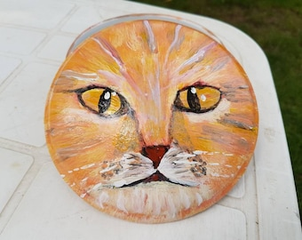 Jewelry box round red Cat Head