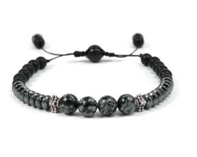 Urban Men's Onyx, Hematite & Opsidian Pull Tie Single Bracelet. Boho Jewelry. Bohemian Jewelry. Ideas for him. Gift for him.