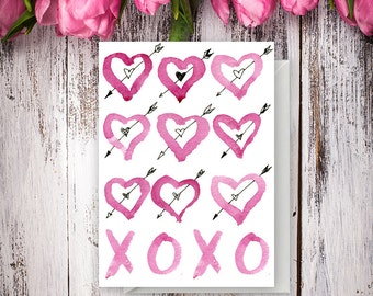 XOXO Watercolor Hearts - Greeting card - Valentine's Day - Love card