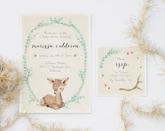 Baby Fawn - Baby Shower Invitation Set