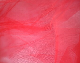 "Red Tulle Fabric 56"" Wide Per Yard"