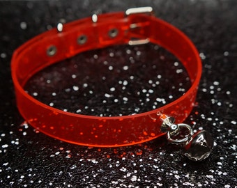 Bell Choker, bell, cute, Choker, Collar, Red Vinyl, pvc, cyber, fetish, bondage, goth, kitten choker, jingle bell