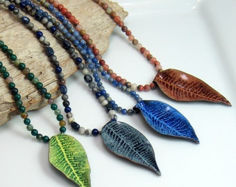 Long Beaded Chains with Original Enameled Pendants, Colors of Nature Blue Green and Brown, Abstract Pendant on Stone Bead Necklace, WillOaks