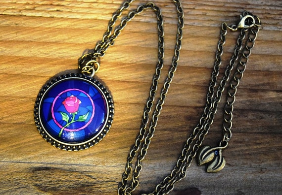Beauty and Beast Enchanted Rose  Necklace, Stained Glass Rose Picture Cabochon, Belle Necklace, Pink Rose Necklace, Fairy Tale Jewelry