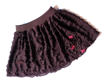 Ruffled skirt, mini skirt, girl, size 4-5 years, belt that fits the waist or hips circumference
