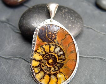 AMMONITE FOSSIL PENDANT Necklace Sterling Silver
