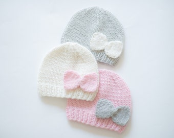 Newborn girl coming home outfit / baby girl coming home outfit / newborn girl hospital hat / girl take home hat / hospital hat with bow