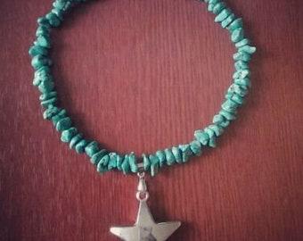 Vintage Gemstones Turquoise Choker Silver Star Necklace