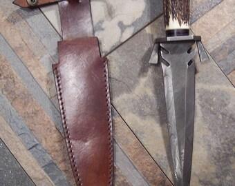 Custom Handmade Damascus Steel Double Edged Toothpick Style Knife