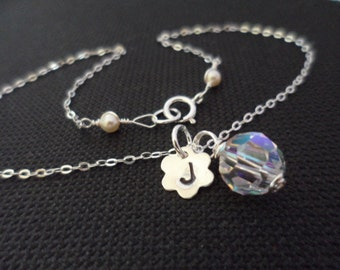Would you be our Flower Girl... Personalized Initial, Swarovski Crystal, Sterling Silver Necklace, Flower Charm