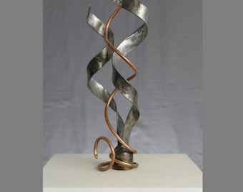 Ascend  - A Steel and Copper One of a Kind Desktop Sized Abstract Sculpture