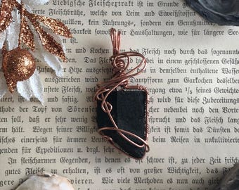 Dinosaur bone in copper wire - fossil, perfect gift for paleontologist, dino fan, wearable history