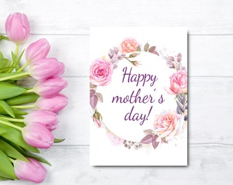 Printable mothers day card from daughter floral mothers day happy mothers day card floral mothers day card from daughter printable mothers day card watercolor card for mom instant download m4hsunfo