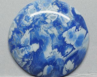 Round Blue and White Polymer Clay Cabochon