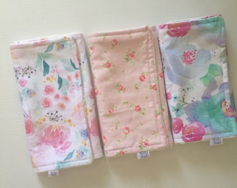 3 Pack Floral Burp Cloths - Organic Cotton Terry Towelling - Baby Shower Gift