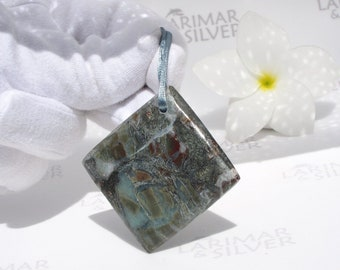 Larimar stone from Larimarandsilver, Tale of the Volcano 2 - marbled Larimar square bead, front drilled, surf pendant, tribal, gift for him
