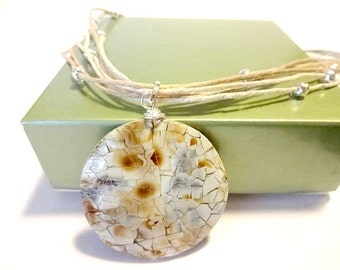 Shell Pendant Necklace, Multi Strand Necklace, Hemp Necklace, Ocean Necklace, Beach Inspired Jewelry, Cool Earthy Jewelry, Shell Jewelry