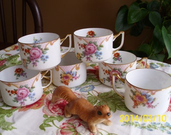 Antique Tea/Coffee Cups-Orphaned Epiage-Czecholslovakia-Eggshell Porcelain-Bridal Rose-Floral Spray