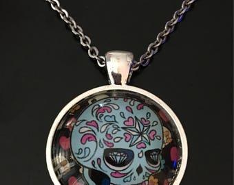 Sugar Skull Pendant, Light Blue Sugar Skull, Sugar Skull Jewelry
