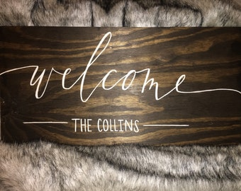 Personalized Welcome Wood Sign - Customizable Wedding Welcome Sign - Housewarming Gift - Farmhouse Welcome Sign - Living Room Decor