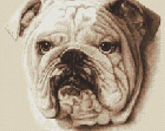 Bulldog Dog in Sepia Cross Stitch Design by Elite Designs