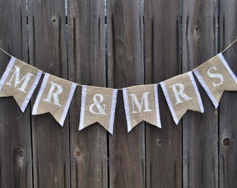 Mr & Mrs Burlap and Lace Banner - Bridal Shower Banner - Wedding Banner - Burlap Wedding Banner - Burlap Bridal Shower Banner