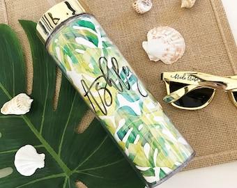 Palm Leaf Tumbler Banana Leaf Bachelorette Party Gift Palm Leaf Bridesmaid Gift Monstera Leaf Water Bottle  (EB3113TPB)