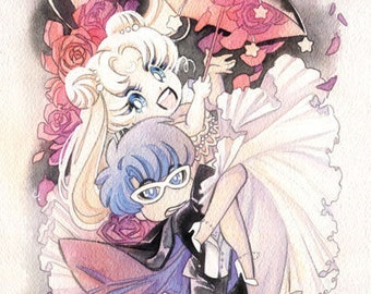Sailor Moon and Tuxedo Mask Umbrella Wedding 8x24 Watercolor Poster Print